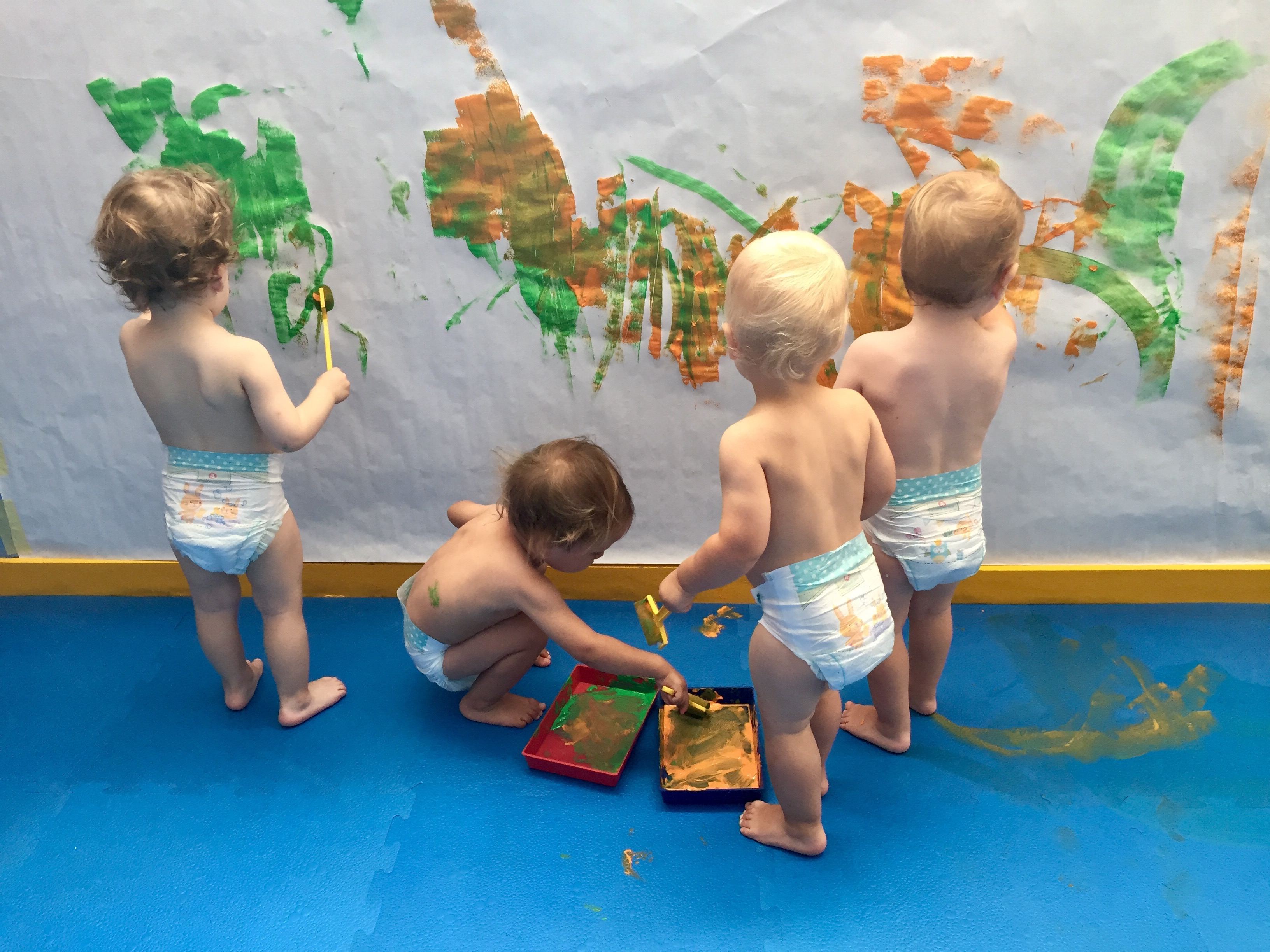 Oliver and his friends painting